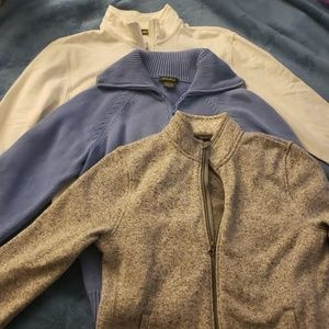 3 Eddie Bauer Long Sleeve Zip Jackets Gray & Blue